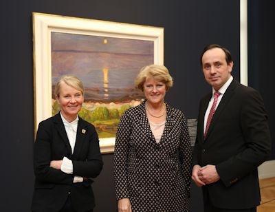 Museumsdirektorin Dr. Ortrud Westheider, Monika Grütters und Ingo Senftleben im Museum Barberini