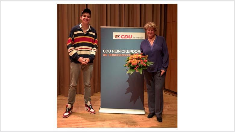 Monika Grütters und Richard Gamp (Vorsitzender der Schüler Union Reinickendorf und Landeschülersprecher Berlin) | Foto: CDU Reinickendorf