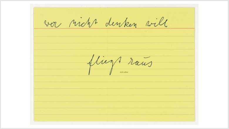 Joseph Beuys, sich selbst, 1977, Postkarte, Edition Staeck, 10,5 x 14,8 cm © VG Bild-Kunst, Bonn 2021 / Staatliche Museen zu Berlin, Kunstbibliothek / Dietmar Katz