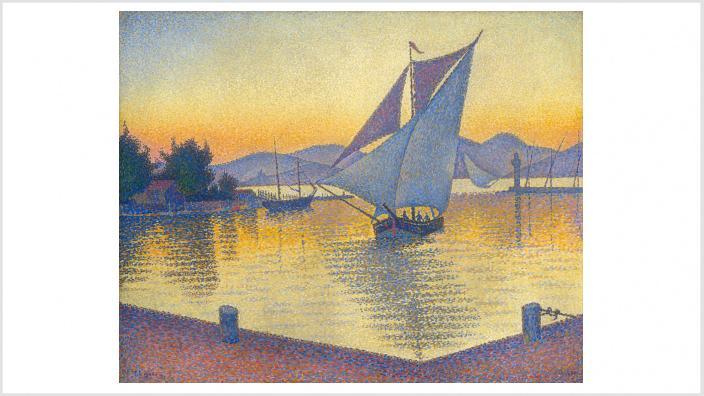 Der Hafen bei Sonnenuntergang, Opus 236 (Saint-Tropez), 1892, Öl auf Leinwand, 65 x 81 cm, Sammlung Hasso Plattner